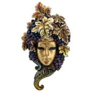 Masquerade Fancy Dress Venetian Woman Mask with Grapes Bronze Effect Wall Plaque Home Decoration